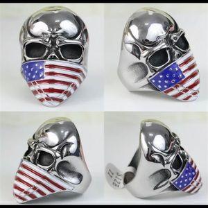 American Flag Skull Ring Size
